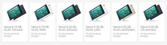 nexus 9 modell uebersicht