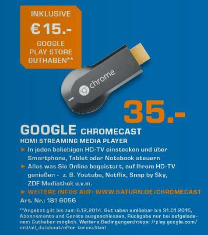SATURN Chromecast deal google play
