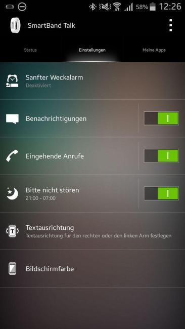 sony smartband app settings