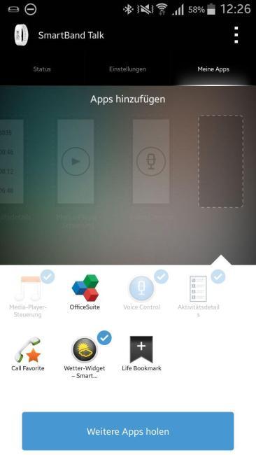 sony smartband app widgets