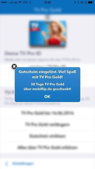 tv pro 2 gold status gutschein