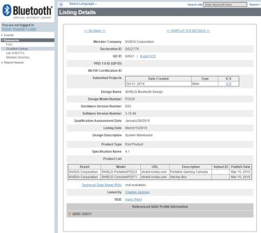 Nvidia SHIELD Portable 2 Bluetooth Zertifizierung