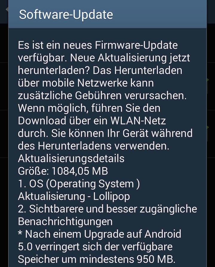 Samsung Galaxy S4 Lollipop Update