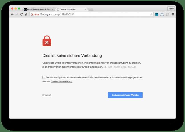 instagram server fail sicherheit