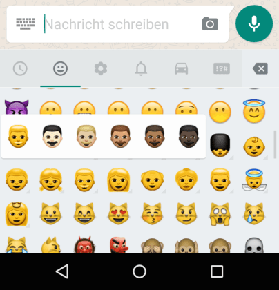 whatsapp emoji android hautfarben