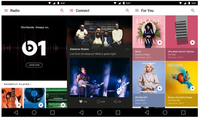 Apple Music Android Screens