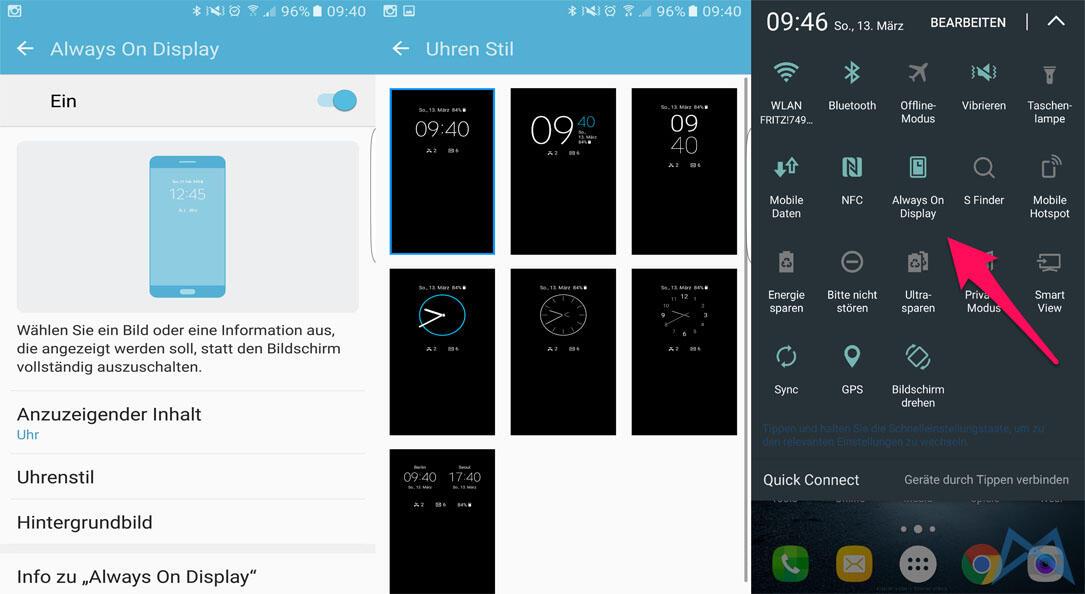Always On Display Samsung Galaxy S7 edge mobiFlip