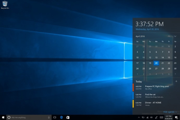 windows 10 taskbar kalender preview
