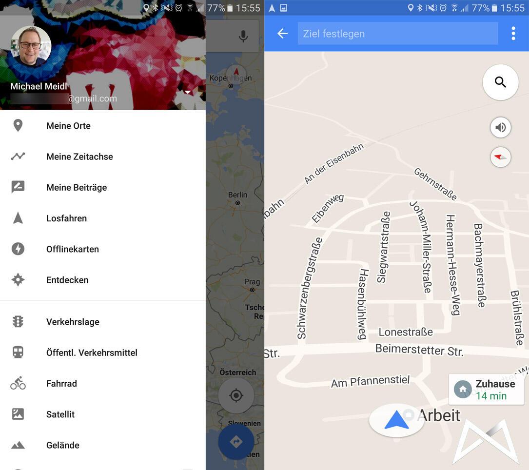 Google Karten Maps losfahren