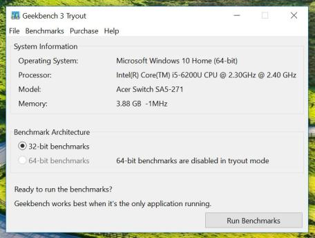Acer Switch Geekbench