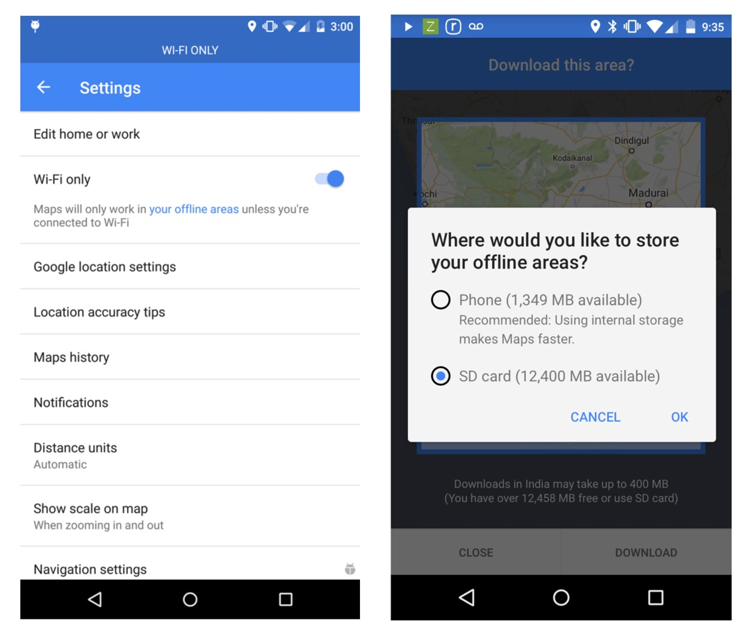 Google Maps Android Update Screen