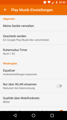 Google Play Music v6.13 Einstellungen
