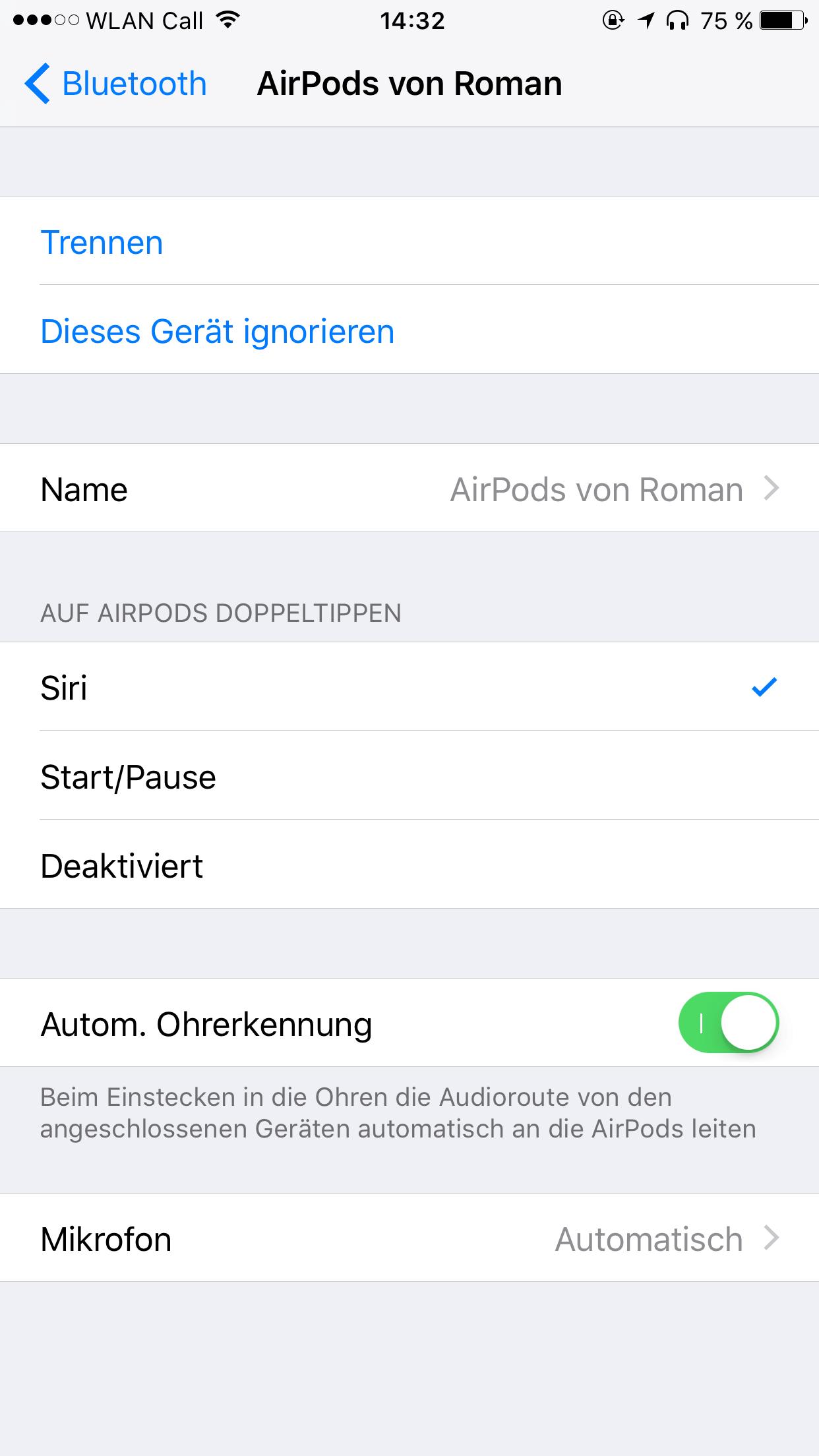 Siri-Modus und Audioroute der AirPods - Screenshot