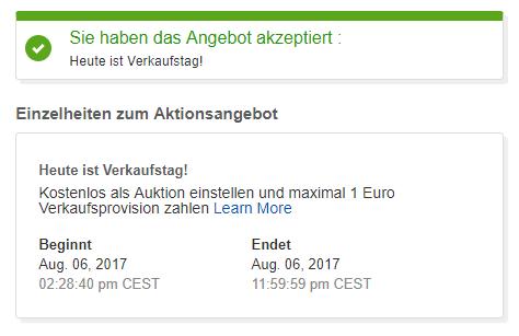 Nur Heute Maximal 1 Euro Verkaufsprovision Fur Ebay Auktionen