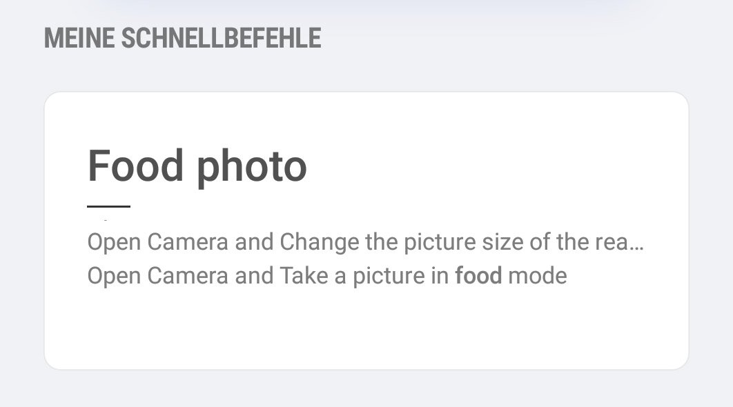 Food Photo Schnellbefehl Mit Bixby