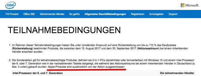 Intel Apple Ausschluss