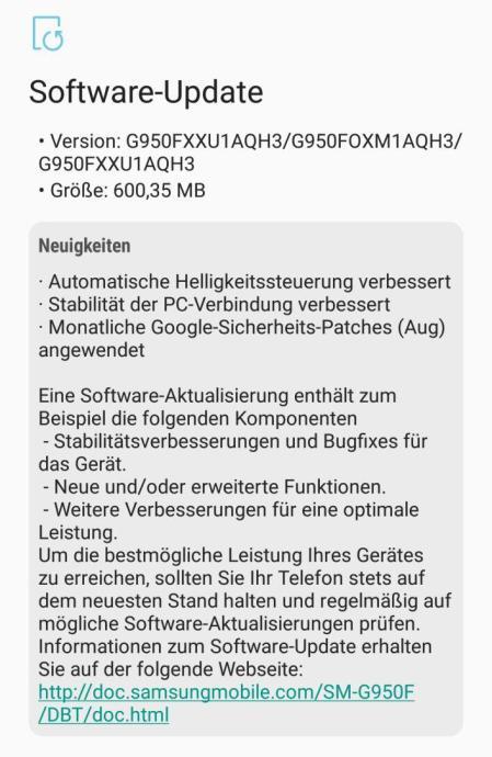 S8 Software Update August