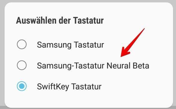 Samsung Tastatur Neural Beta