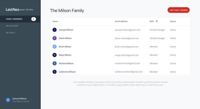 Lastpass Families Family Management