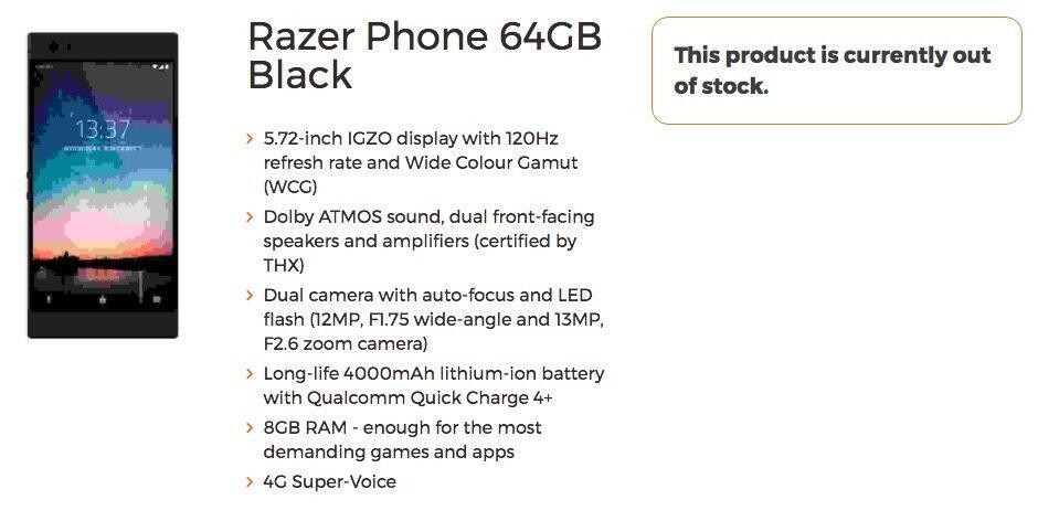 Razer Phone Specs
