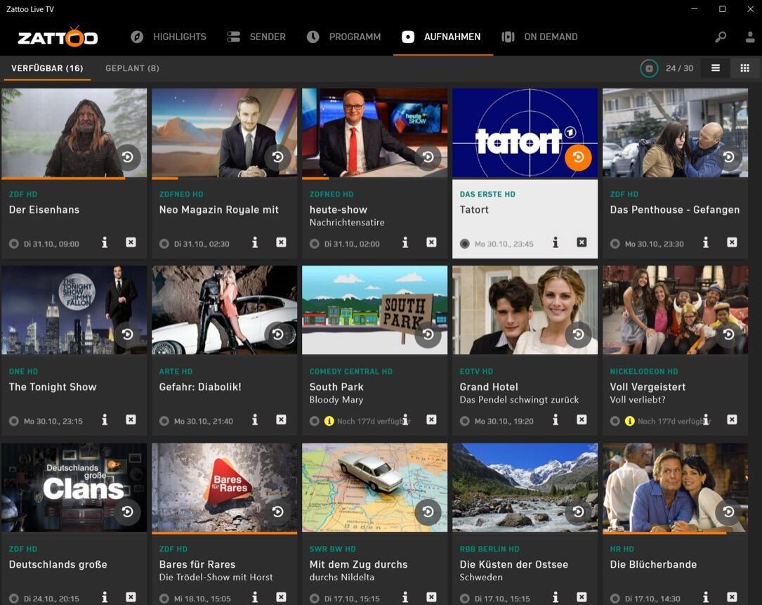 Zattoo De Win10 Aufnahme Ansicht Verfuegbar
