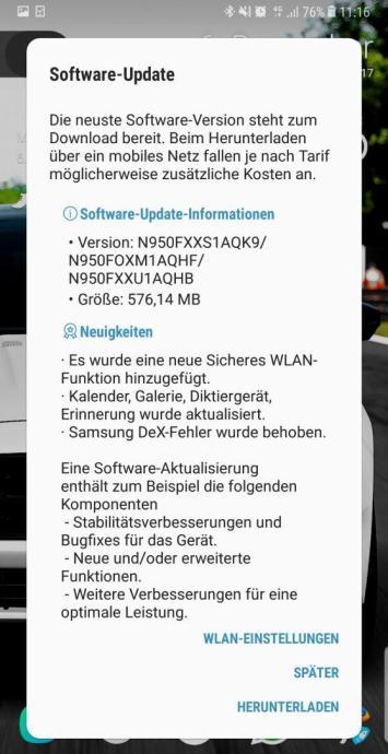 Changelog Note 8 Firmware Update