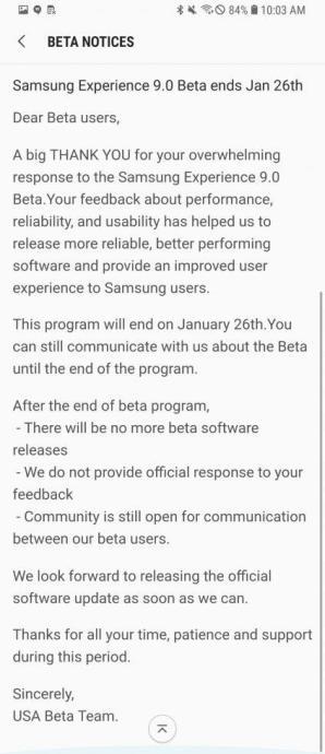 Galaxy S8 Oreo Beta Update End 423x980