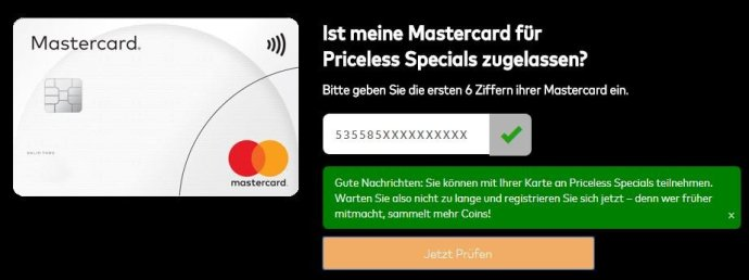 Mastercard Specials Pruefung