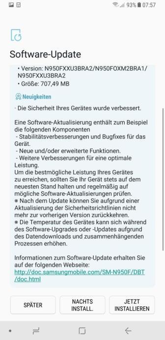 Note 8 Update Screen