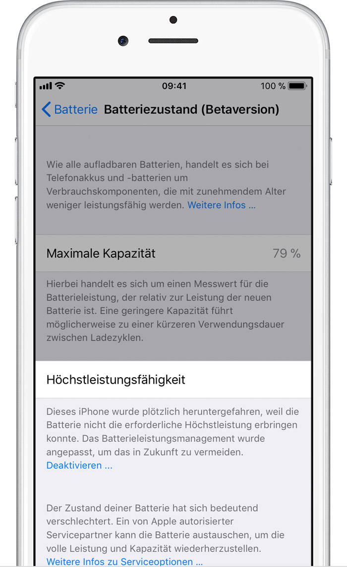 Ios11 Iphone6 Settings Battery Health Performance Management Disabled Significant Degrade