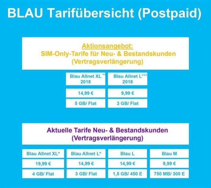 Blau Tarife Neu Mai 18