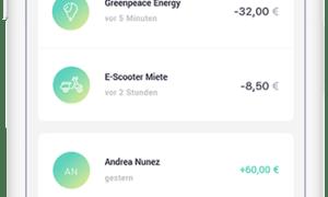Nachhaltige Mobiles Banking App Dashboard