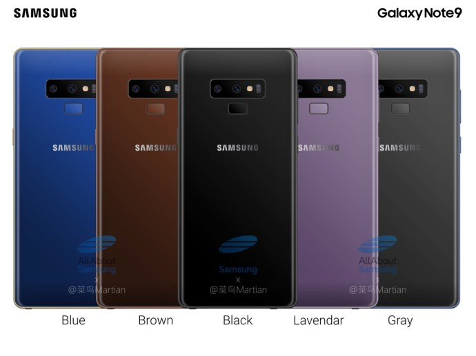 Samsung Galaxy Note 9 Farben
