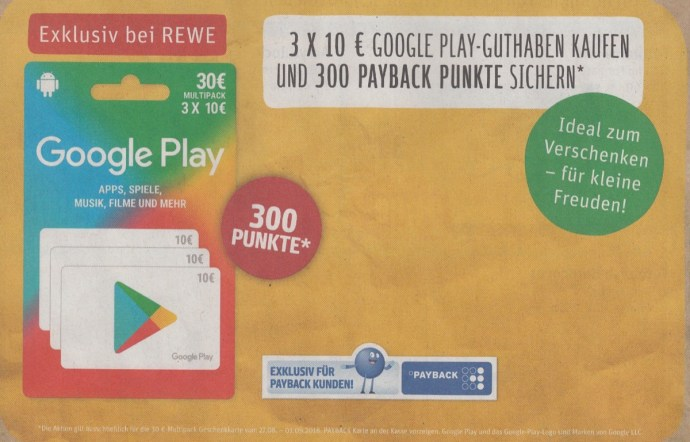mit payback bei rewe 3 euro cashback auf google play guthaben. Black Bedroom Furniture Sets. Home Design Ideas