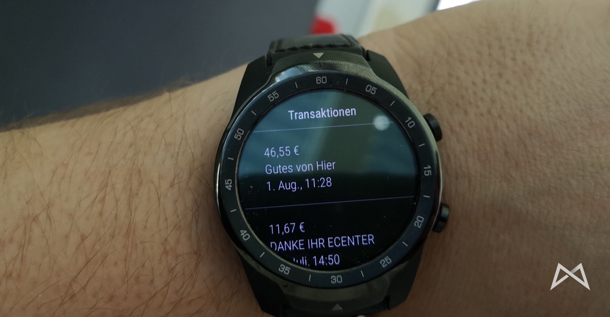 Transaktinoen Ticwatch Pro Revolut Google Pay