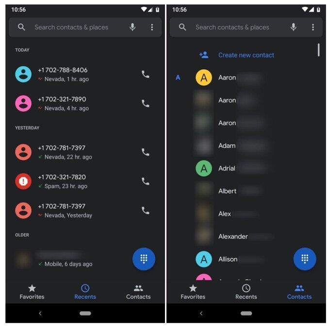 Google Telefon Dark Mode