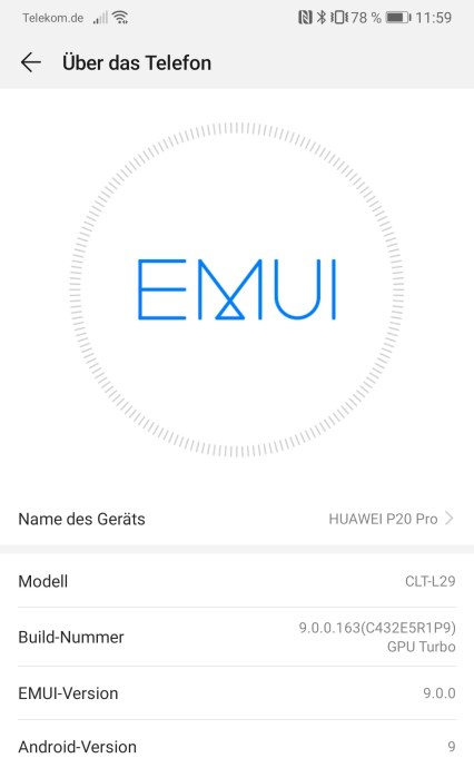 Android 9 Pie Huawei P20 Pro