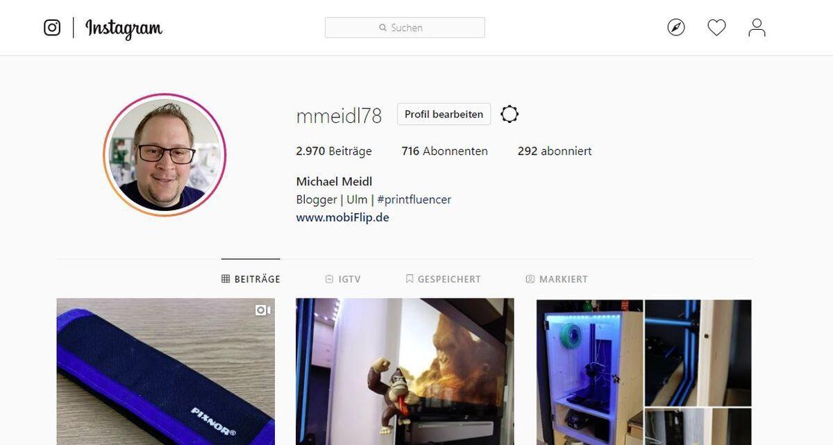 Instagram Weboberflaeche