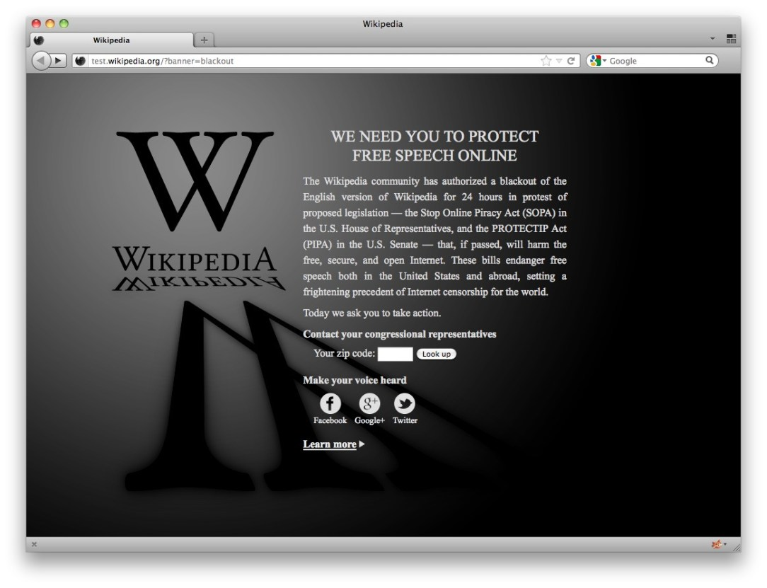 Wikipedia Sopa Protest Blackout 3