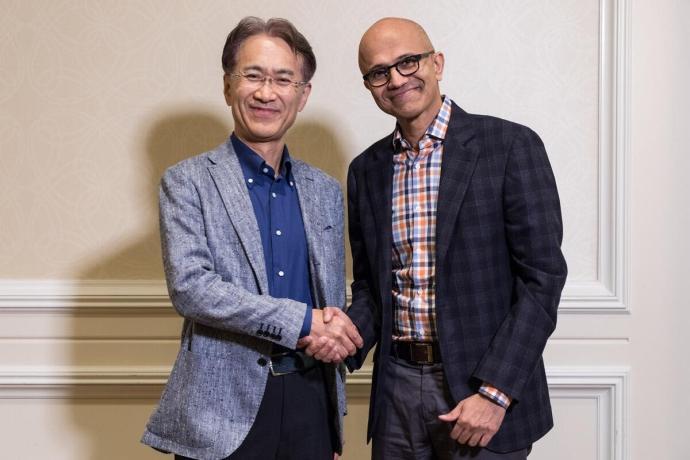 Microsoft Exec Nadella Sony Ceo Kenichiro Yoshida 013 Low Res