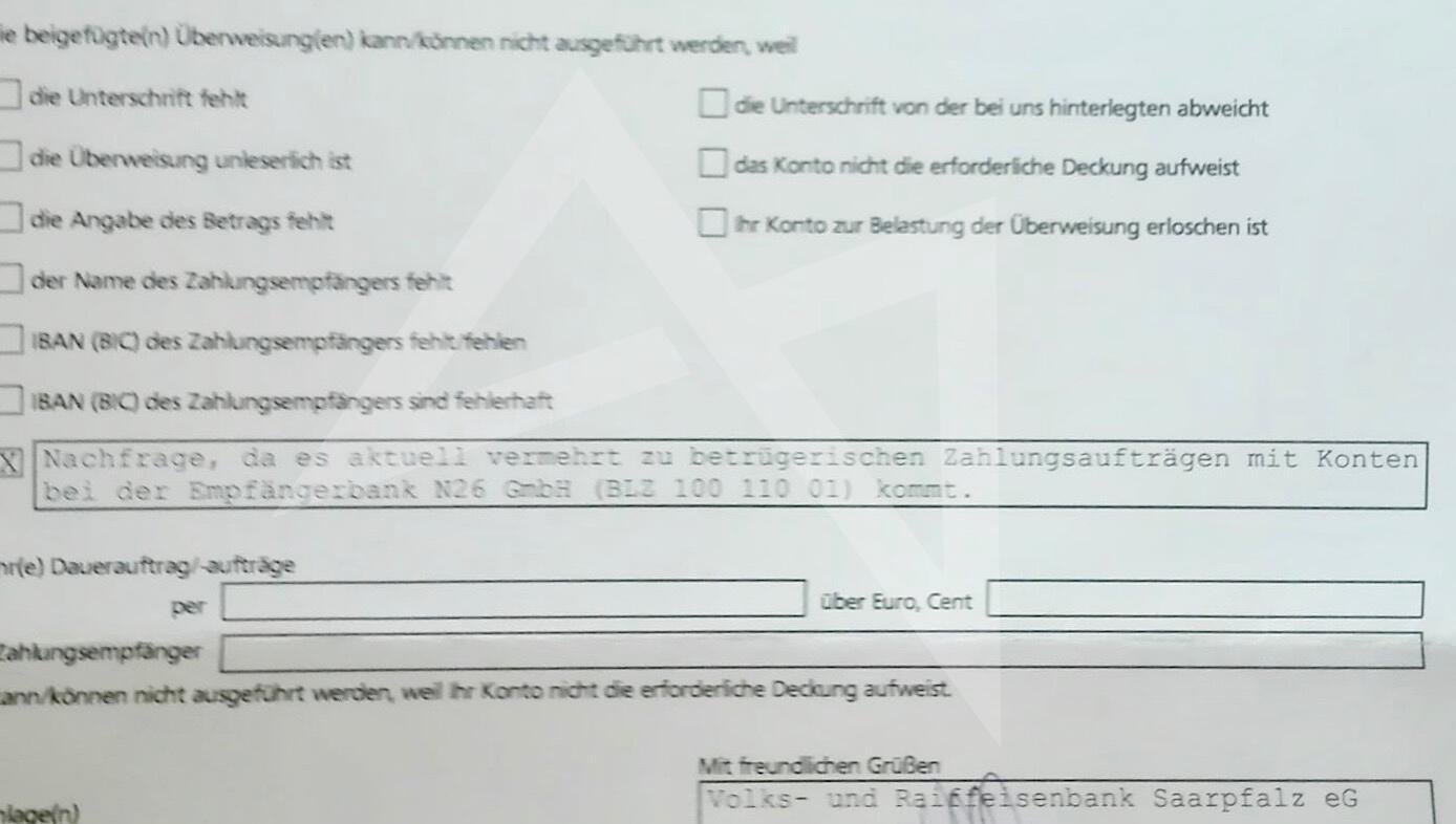 N26 Vs Volks Und Raiffeisenbank Saarpfalz