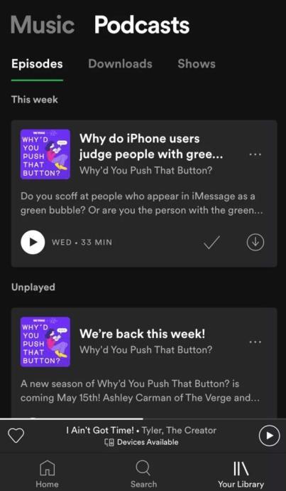 Spotify Bibliothek Design Neu