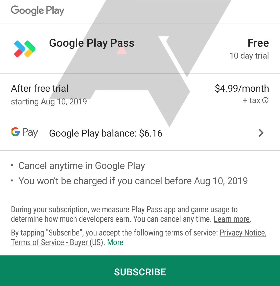 Google Play Pass Abo