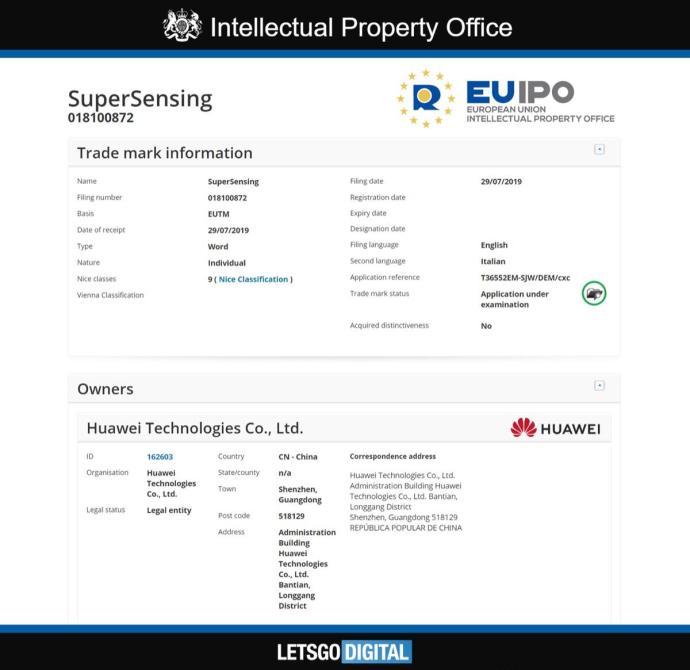 Huawei Supersensing Patent