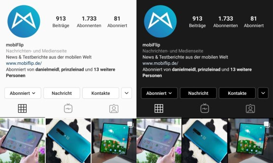 Instagam Dark Mode Android 9