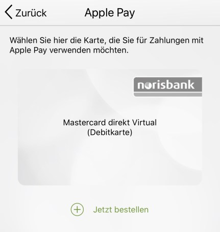 Norisbank Apple Pay App