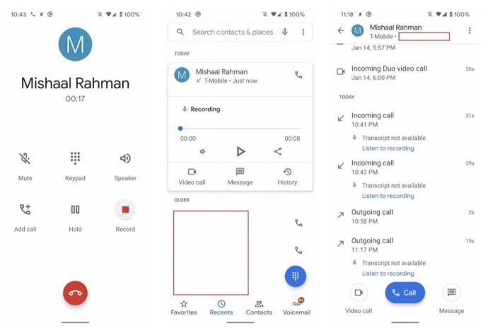 Google Telefon Record Screens