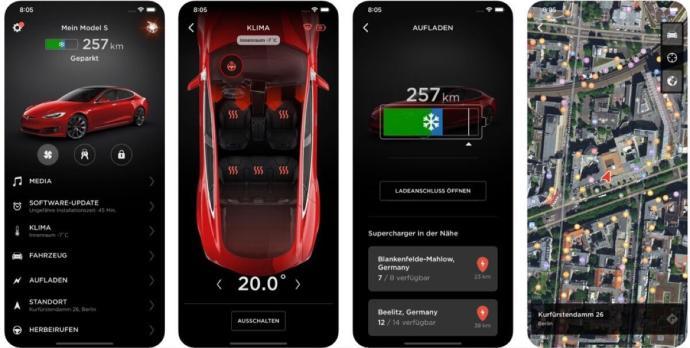 Tesla App Screens