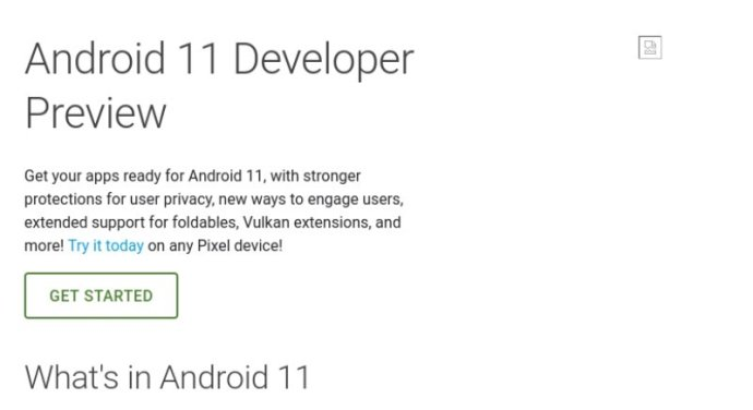 Android 11 Developer Preview Bild