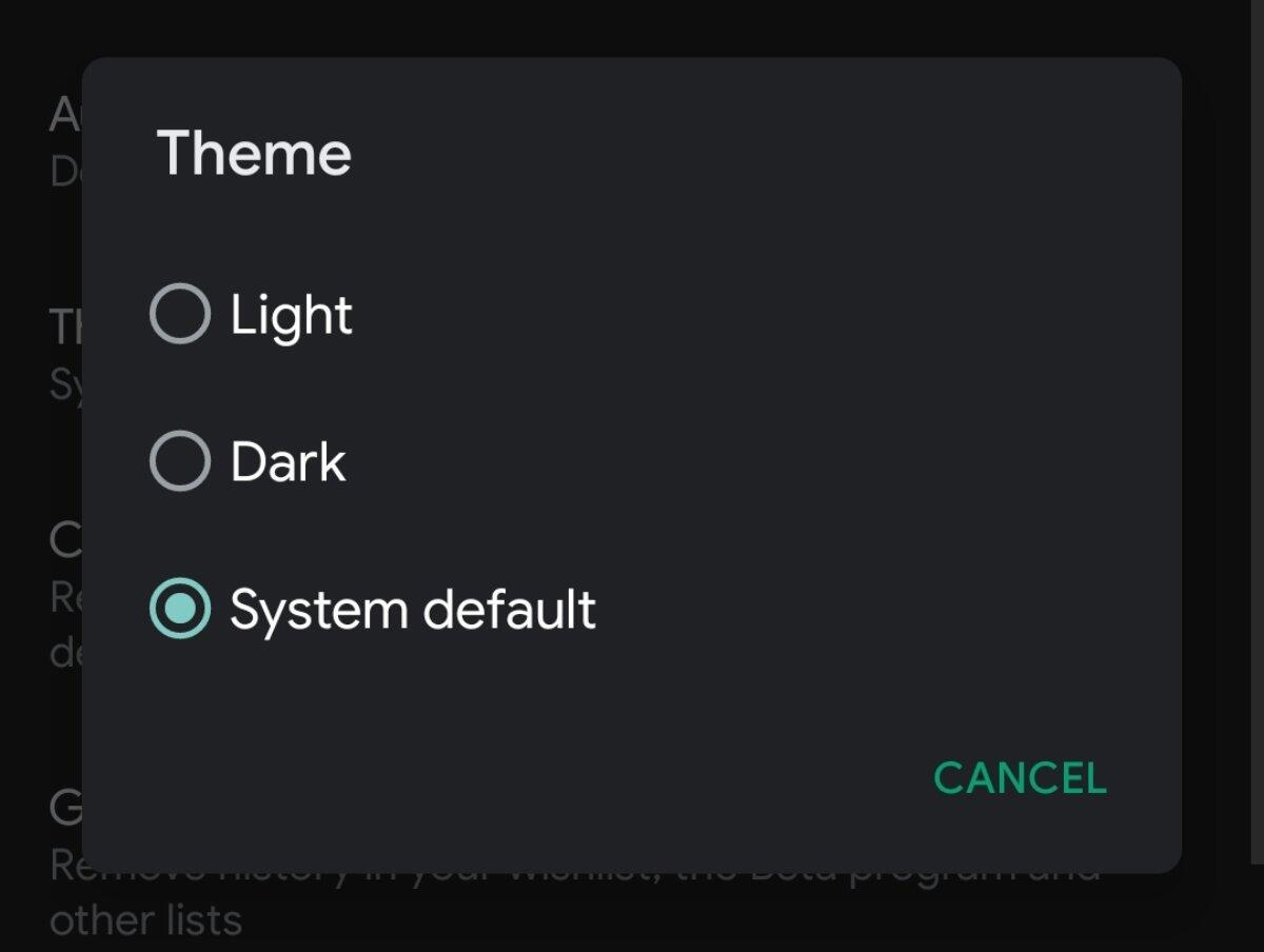 Google Play Store Dark Mode Option
